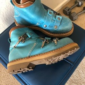 Blue leather boots w/vintage ski buckle clasps